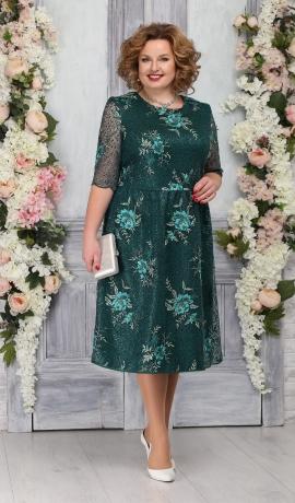 LIA5370 Smaragdzaļa mežģīņu kleita
