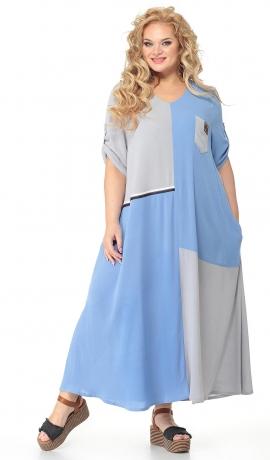 LIA7222 Pelēka / gaiši zila gara kleita