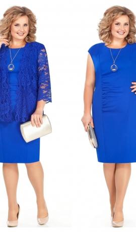 LIA4170 Zila kleita ar mežģīņu žaketi