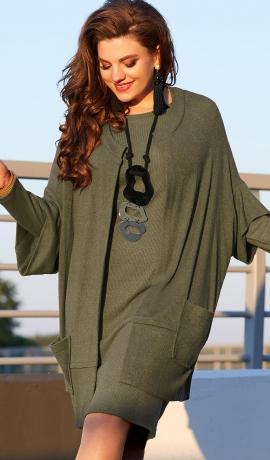 LIA6166 Olīvkrāsas trikotāžas kleita ar kardiganu