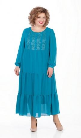 LIA5134 Tirkīzkrāsas šifona kleita