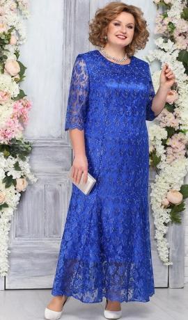 3-1817 Zila mežģīņu kleita ar atlasa oderi