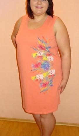 3-0495 Papaijas krāsas kleita ar ziedu zīmējumu