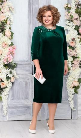 LIA4570 Zaļa samta kleita