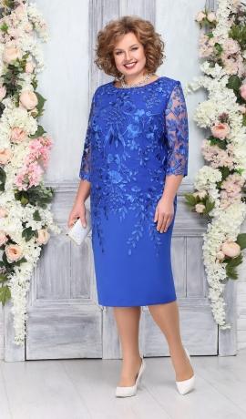 LIA4585 Zila kleita ar mežģīni