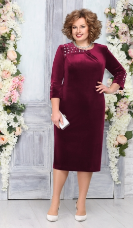 LIA4567 Bordo krāsas samta kleita
