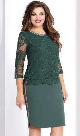 3-0929 Zaļa kleita ar mežģīni