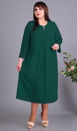 LIA5088 Smaragdzaļa A-silueta šifona kleita