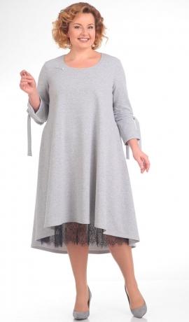 LIA1102 Pelēka kleita ar mežģīnu apakšiņu