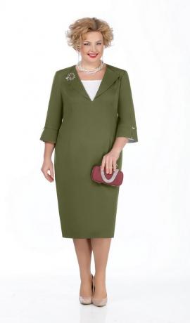 LIA5413 Zaļa kleita ar atlokiem
