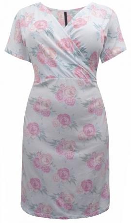 3-0750 Gaiši rozā kleita ar rožu rakstu.
