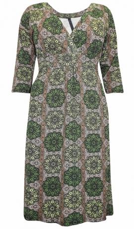 3-0754 Zaļa kleita ar mandalas rakstu.