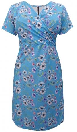 3-0749 Gaiši zila kleita ar margrietiņu rakstu.