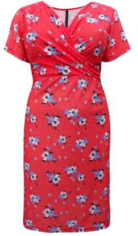 3-0751 Oranža kleita ar ziedu rakstu
