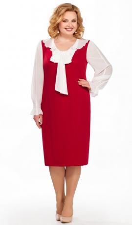 LIA2922 Sarkana kleita ar šifona piedurknēm un banti
