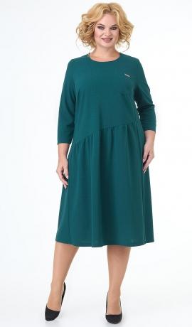 LIA7454 Asimetriska griezuma smaragdzaļa kleita