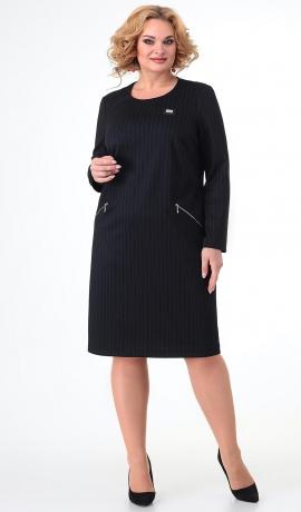 LIA7465 Melna trikotāžas kleita