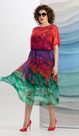 LIA7444 Krāsaina šifona kleita