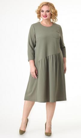 LIA7455 Asimetriska griezuma olīvkrāsas kleita