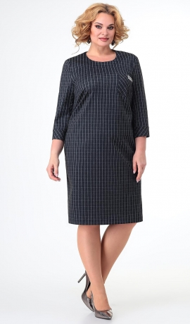 LIA7449 Rūtiņu raksta trikotāžas kleita