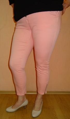 5-0373 Rozā bikses ar rāvējslēdzēju dekoru galos