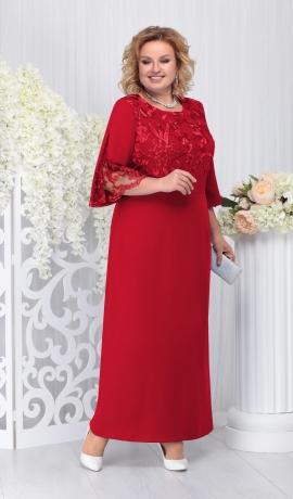 LIA3685 Sarkana garā kleita