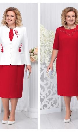 LIA3690 Sarkana kleita ar žaketi
