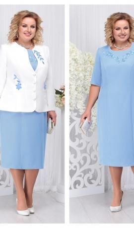 LIA3691 Gaiši zila kleita ar žaketi