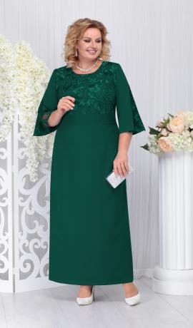 LIA3687 Zaļa garā kleita