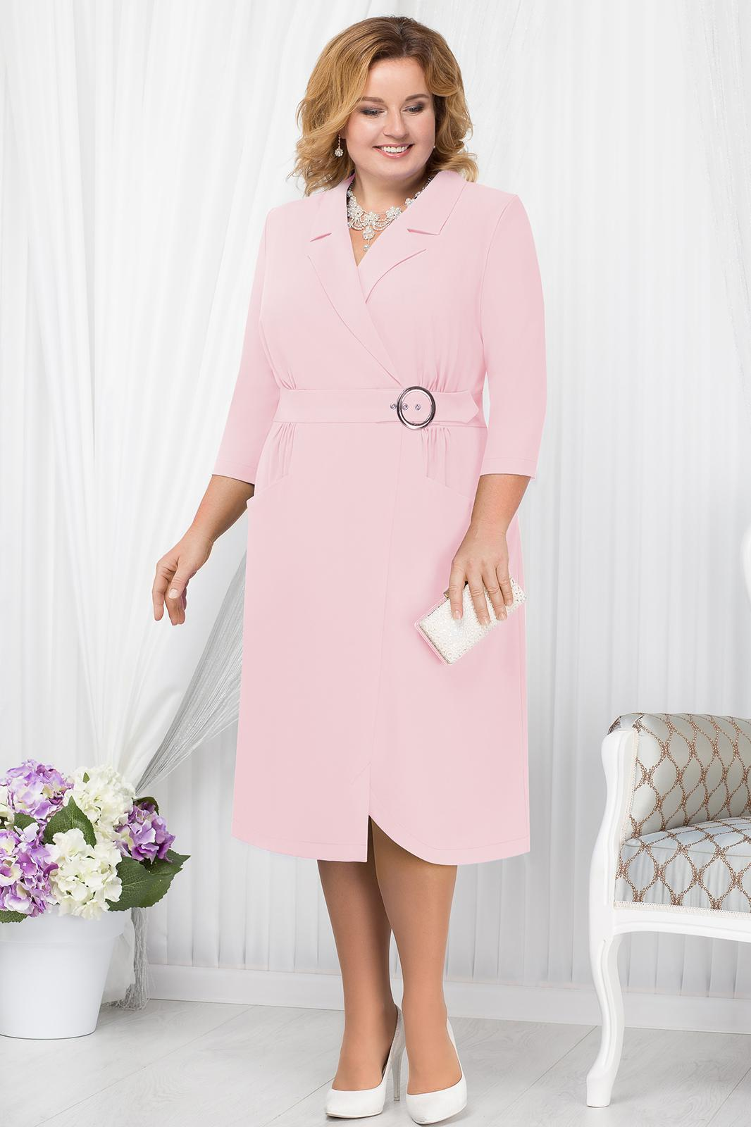 LIA1801 Gaiši rozā žaketes veida kleita