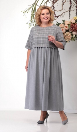 3-1391 Pelēka kleita ar kabatām