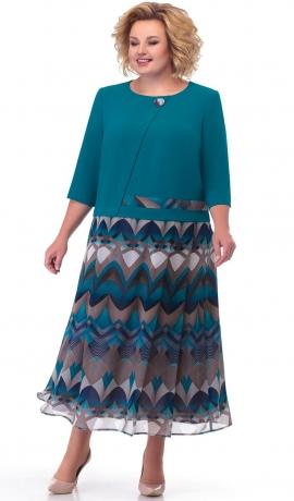 LIA7762 Tirkīzkrāsas kleita ar rakstu
