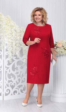 LIA3943 Sarkana kleita ar ziedu uzšuvēm