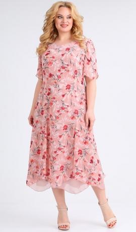 LIA7771 Rozā kleita ar ziediem