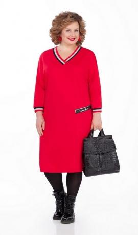 LIA5108 Sarkana trikotāžas kleita