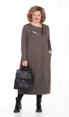 LIA5111 Haki trikotāžas kleita