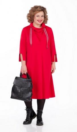 LIA5112 Sarkana trikotāžas kleita