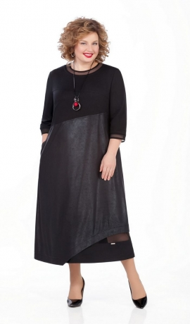 LIA5115 Melna divu audumu kleita