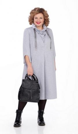 LIA5113 Pelēka trikotāžas kleita