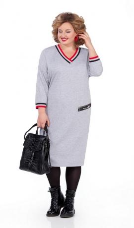 LIA5110 Pelēka trikotāžas kleita