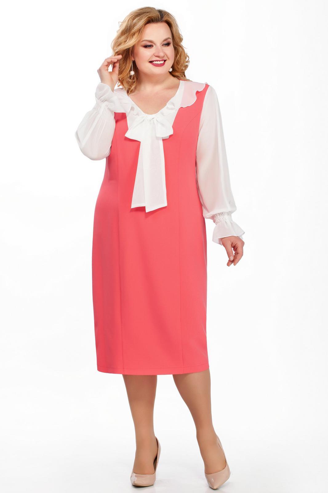 LIA2924 Rozā kleita ar šifona piedurknēm un banti
