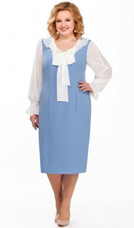 LIA2923 Zila kleita ar šifona piedurknēm un banti