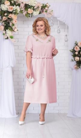 LIA2833 Pūderkrāsas lina kleita