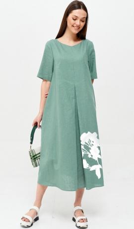 3-1672 Tirkīzkrāsas lina kleita