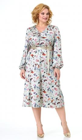 LIA7479 Gaiša tirkīzrāsas kleita ar rakstu