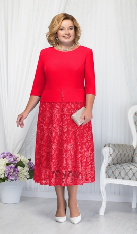 LIA1554 Sarkana kleita ar mežģīņu svārku daļu