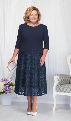 LIA1556 Zila kleita ar mežģīņu svārku daļu