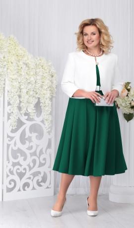 LIA3696 Smaragdzaļa midi kleita ar žaketi