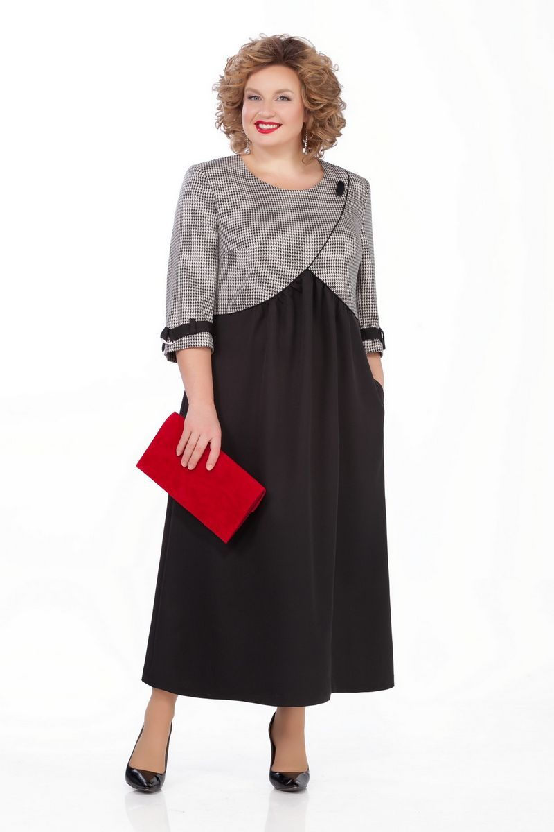 LIA5132 Pelēka ar melnu kleita
