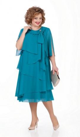 LIA5136 Tirkīzkrāsas šifona kleita